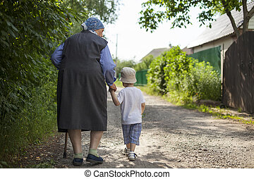 Great grandmother and toddler boy