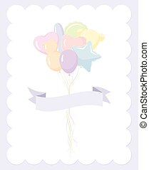 Baby ballon invitation - party balloons in pastel colors and...