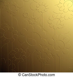 bas relief floral - Golden bas relief floral background