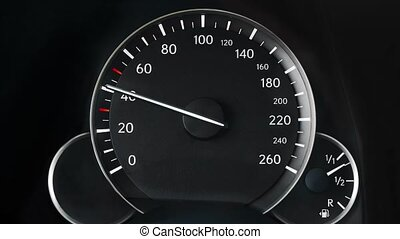 Speedometer of a car - Speedometer of an accelerating car