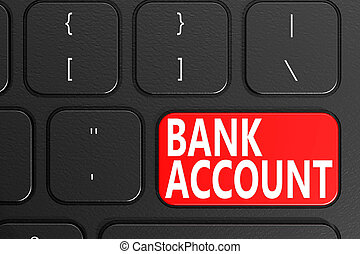Bank account on black keyboard, 3D rendering