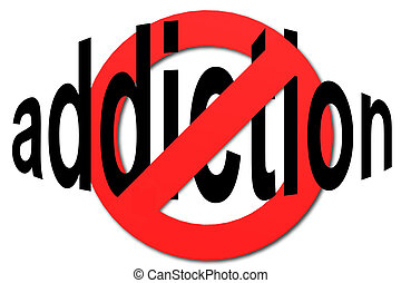 Stop addiction sign in red