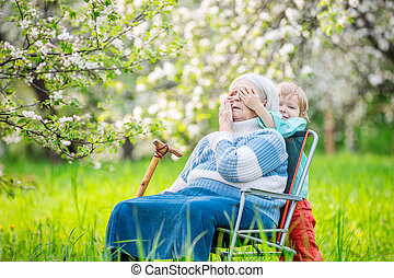 Little boy with grandmother
