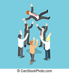 Isometric businessman being throw up in the air by his team...