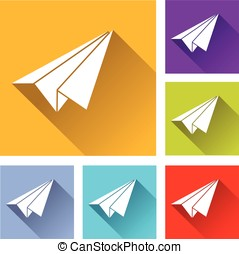 paper plane icons - illustration of paper plane flat icons...