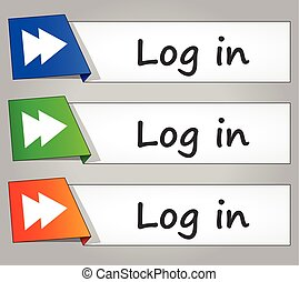 log in buttons - illustration of log in design banner...