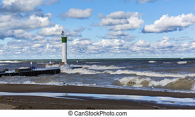 Lake Huron Lighthouse - Grand Bend, Ontario - Ring-billed...