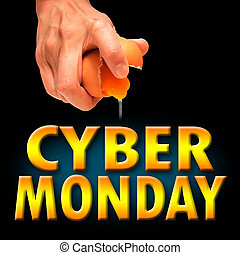 Cyber Monday with concept to crack egg background