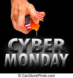 America Cyber Monday with concept to crack egg background