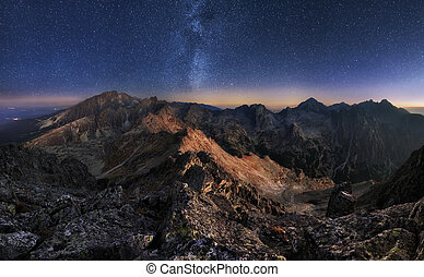Mountain landscape with night sky and Mliky way, Slovakia...