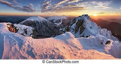 Landscape at winter in sunset moutain, Slovakia