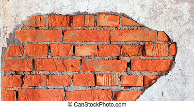 Damage of brick wall - industrial urbanistic background -...