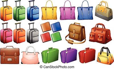 Different types of luggages illustration