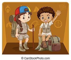 Boy and girl in safari outfit illustration