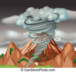 Tornado over the mountains illustration