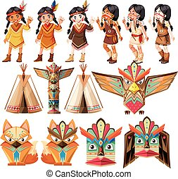Native american indians and traditional craft set...