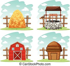 Different things in the farm illustration
