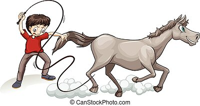 Man training horse with whip illustration