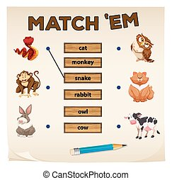 Matching game with animals illustration