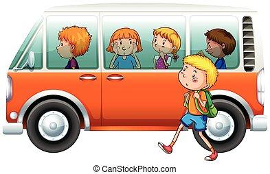 Boy walking pass camper van