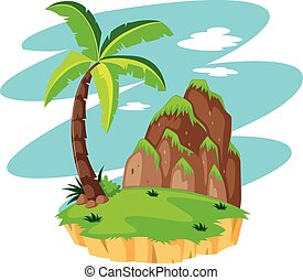 Scene with coconut tree on island