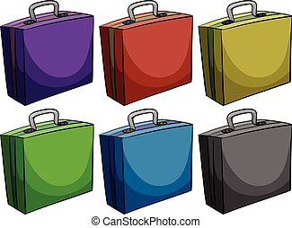 Briefcases in six colors illustration