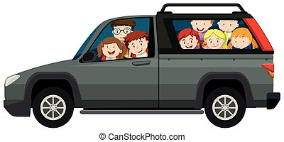 Kids riding on pick up truck illustration