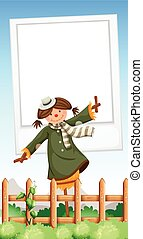 Paper template with scarecrow in garden illustration
