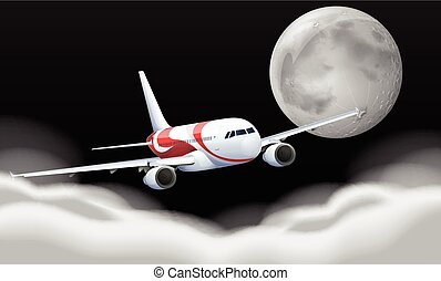 Airplane flying in the fullmoon