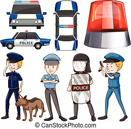 Policeman and police cars illustration