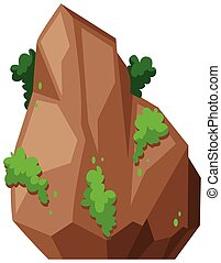 Rock with green bush