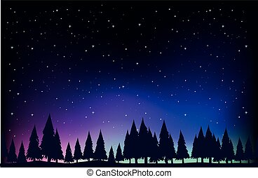 Scene with pine trees at night illustration