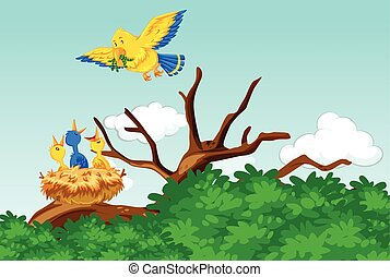 Mother bird feeding the babies with worms illustration