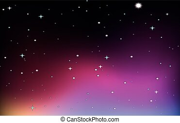 Background design with stars on purple sky