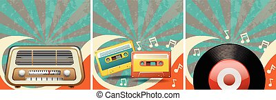 Retro background design with old radio and casettes