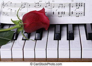 Piano with red rose - Red rose on piano keys with sheet...