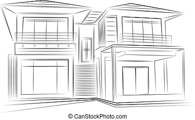 3D rendering wire-frame of house. White background