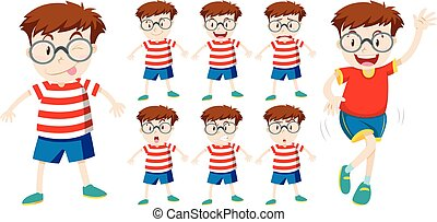Boy with different facial expressions