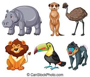 Different kinds of wild animals set