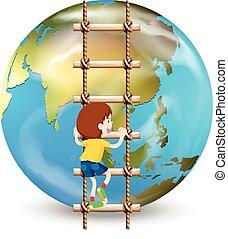 Boy climbing up ladder