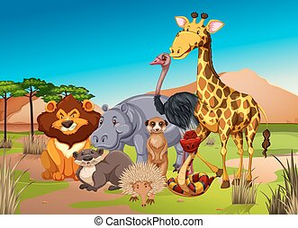 Many animals in the grass field illustration