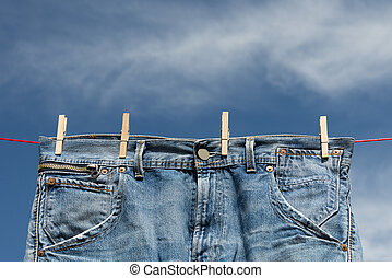 Jeans on a clothesline