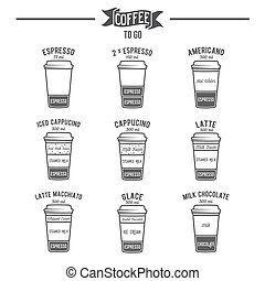 Hot coffee to go drinks recipes icons set - Coffee to go...