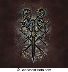 Dragon sword design - Dragon sword emblem on grunge brown...