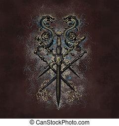 desenho, espada, dragão
