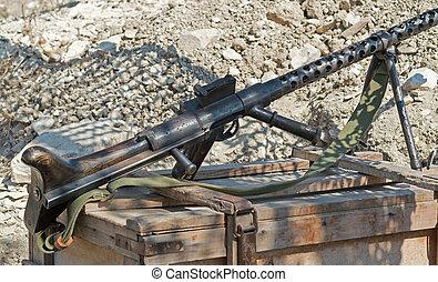 Machine Gun - old German Machine Gun on position from the...