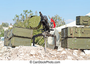 grenade launcher on position from the boxes