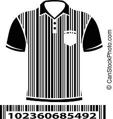 Shirt as barcode, vector illustration.