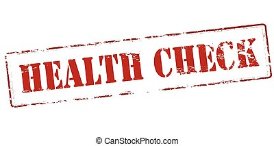 Health check - Rubber stamp with text health check inside,...