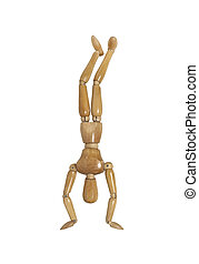 Hand Stand - Wooden model representing a person doing a hand...